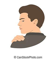 Dandruff on man shoulder. Head, hand, wrist, fingers. Side ...
