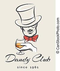 dandy, club, embleem