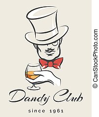 Dandy Club Emblem - Dandy or Mens Club emblem with gentleman...