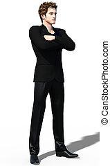 Dandy in black - 3d render of a trendy handsome man in black...