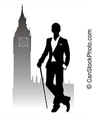 Dandy - Silhouette fashionable men on Big Ben's background.