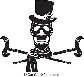Dandy skull in sylinder with rose. stencil vector...