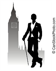 Dandy - Silhouette fashionable men on Big Ben's background.