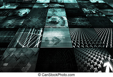 dane, energia, ruszt, sieć, futurystyczny