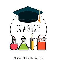 dane, nauka, płaski, ikony
