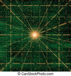 dane, paczki, cyberspace, fałdzisty, konceptualny, przez