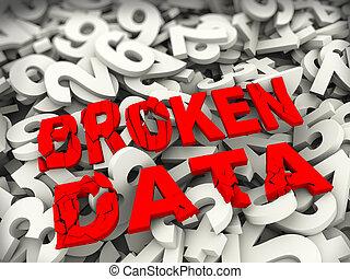 dane, pojęcie, 3d, złamany