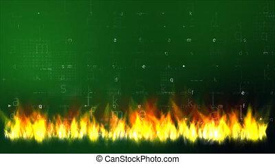 dane, w, ogień