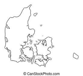 danemark, contour, carte