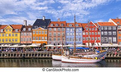 danemark, copenhague, bâtiments, nyhavn, coloré