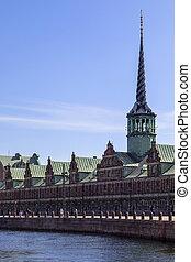 danemark, -, copenhague, borsbygningen, ou, borsen
