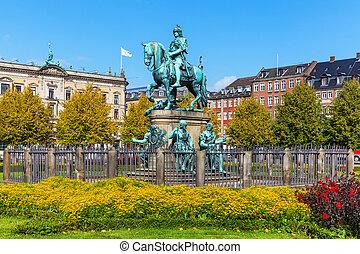 danemark, copenhague, chrétien, statue, v