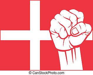 danemark, denmark), poing, (flag