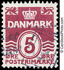 danemark, timbre, imprimé, chiffre, 1938:, danemark, -, ...