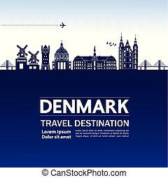 danemark, voyage, vecteur, illustration