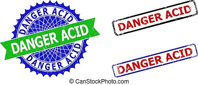 DANGER ACID Rosette and Rectangle Bicolor Seals with Corroded Surfaces