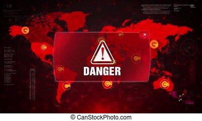 Danger Alert Warning Attack on Screen World Map Loop Motion.