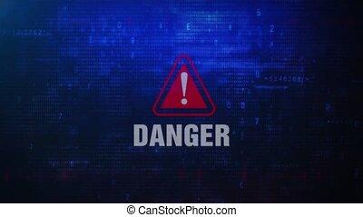 Danger Alert Warning Error Message Blinking on Screen .