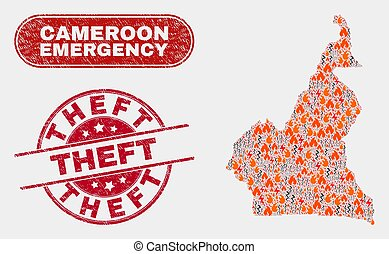 Danger and Emergency Collage of Cameroon Map and Scratched Theft Watermark