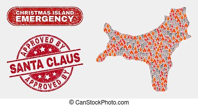 Danger and Emergency Collage of Christmas Island Map and Scratched Approved by Santa Claus Stamp