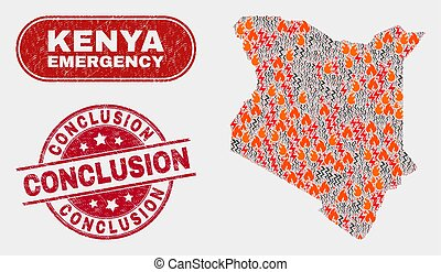 Danger and Emergency Collage of Kenya Map and Grunge Conclusion Watermark