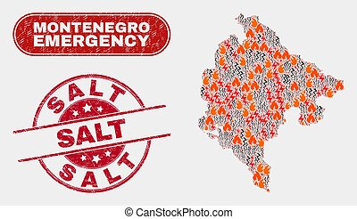Danger and Emergency Collage of Montenegro Map and Grunge ...
