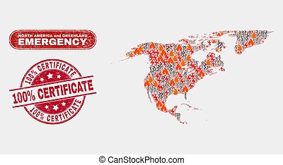 Danger and Emergency Collage of North America and Greenland Map and Scratched 100% Certificate Seal