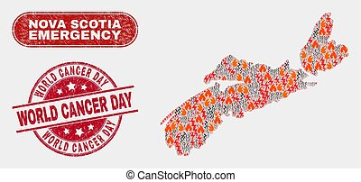 Danger and Emergency Collage of Nova Scotia Province Map and Scratched World Cancer Day Watermark