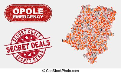 Danger and Emergency Collage of Opole Voivodeship Map and ...
