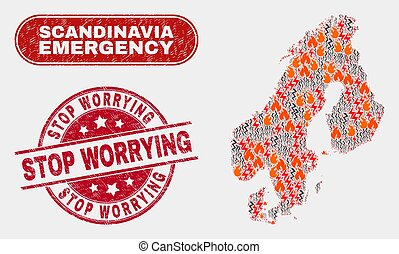 Danger and Emergency Collage of Scandinavia Map and Grunge ...