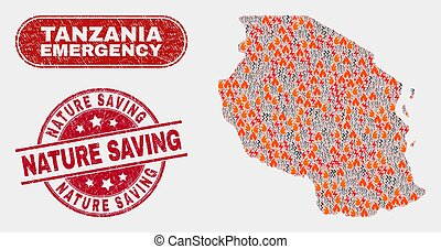 Danger and Emergency Collage of Tanzania Map and Distress Nature Saving Seal