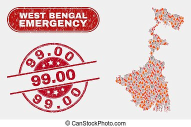 Danger and Emergency Collage of West Bengal State Map and Scratched 99.00 Seal