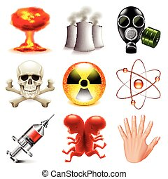 Danger and radioactive icons vector set