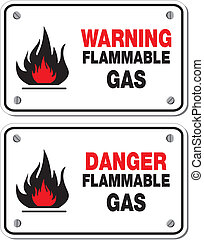 danger and warning flammable gas