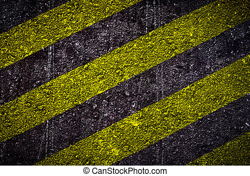 Danger area old grunge  black and yellow strip