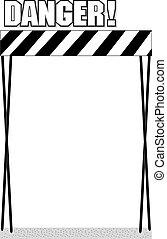 Danger area sign on a white background, vector illustration