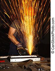 danger at work - danger work, labor use electric grinder in...