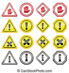 danger, avertissement, icônes