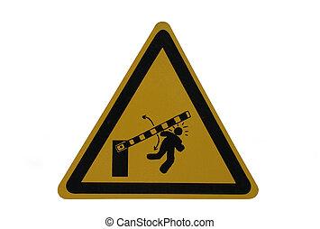 danger barrier sign - danger from moving barrier sign