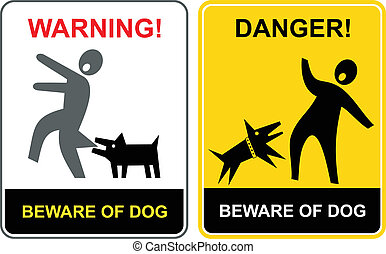 Beware of the mad dog - warning sign. Mad dog attack - danger vector sign. Keep out.