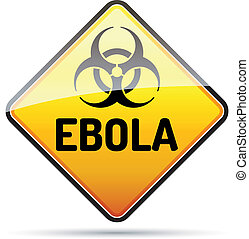 danger, biohazard, signe, refléter, arrière-plan., virus, ebola, ombre, blanc
