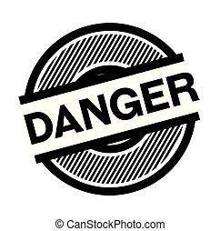 danger black stamp on white background , sign, label