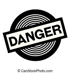danger black stamp on white background, sign, label