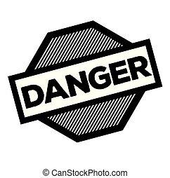 danger black stamp on white background. Sign, label, sticker