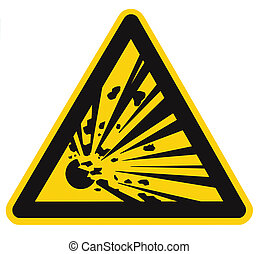Danger, blasting area, authorized personnel only, stay away, hazard risk zone caution warning sign, blast icon signage sticker, black triangle over isolated yellow background, large macro closeup