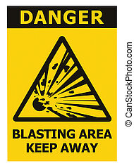 Danger, blasting area, keep away text, hazard risk zone caution warning sign, blast icon signage sticker, black triangle over isolated yellow background, large macro closeup