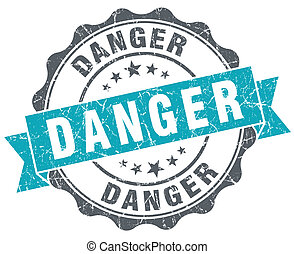 Danger blue grunge retro style isolated seal