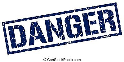 danger blue grunge square vintage rubber stamp