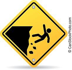danger, bord, panneau avertissement, falaise