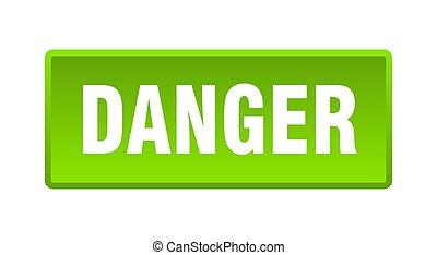 danger button. danger square green push button